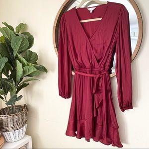 Lauren Conrad Red Wrap Satin Dress